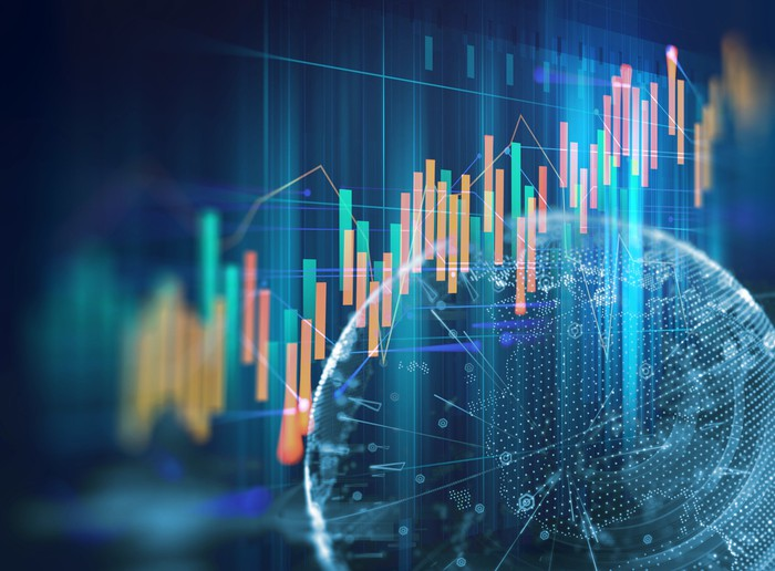 Stock graph on an abstract background.