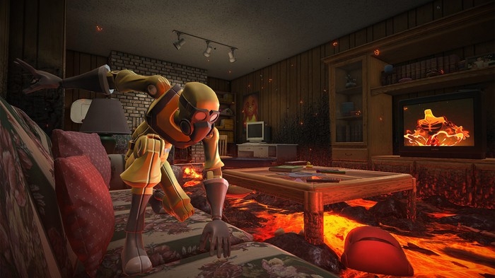 A scene from Hot Lava showing someone in protective gear in a living room where the floor is lava.