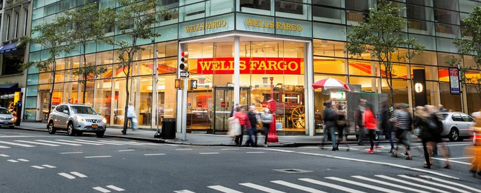 Wells Fargo branch on ground floor of office building as seen from across a city corner.