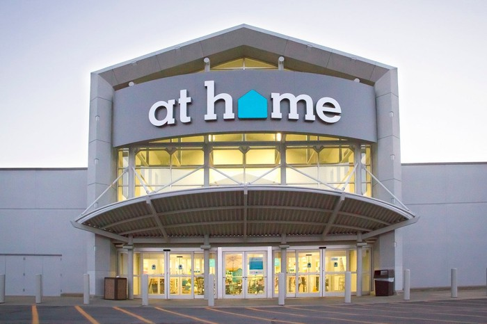At Home retail store location, viewed from front in an empty parking lot.