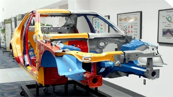 Steel automotive frame on display