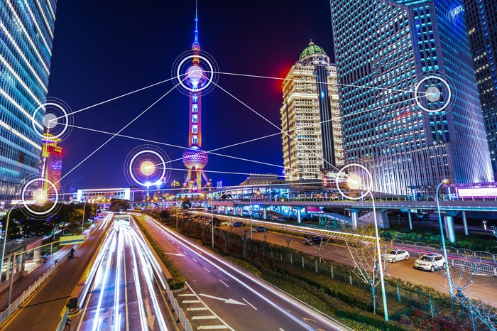 A lit-up view of Shanghai at night.