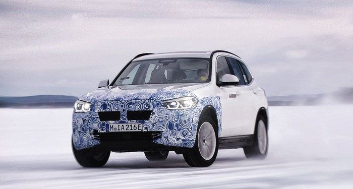 A Prototype Bmw Ix3 Compact Electric Luxury Crossover Suv Shown Undergoing Winter Testing