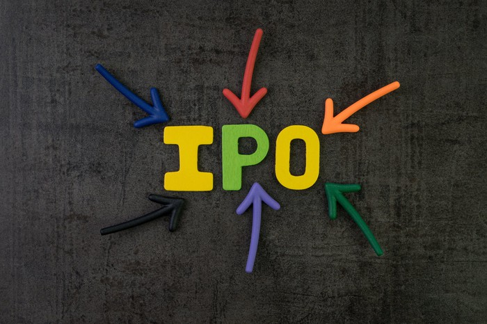 The word IPO in bright letters on a black background.