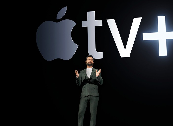 Kumail Nanjiani onstage during Apple's TV service launch
