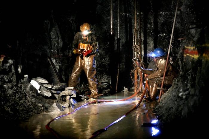 MIners working at Sibanye-Stillwater's Driefontein mine.