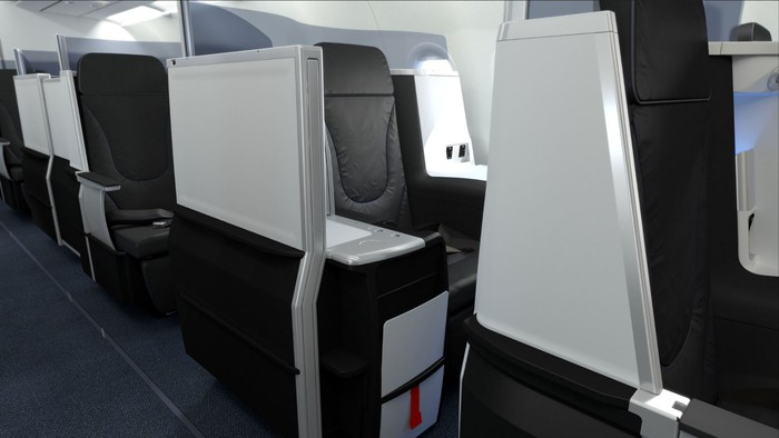 Rows of lie-flat seats on a JetBlue Airbus A321