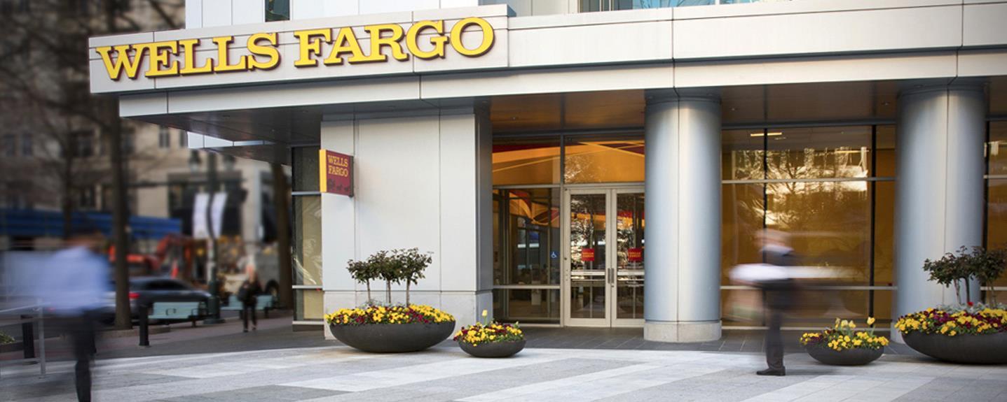 Exterior of Wells Fargo banking branch.