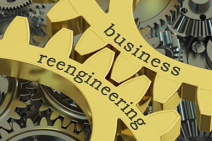 Business reengineering written on a gear.