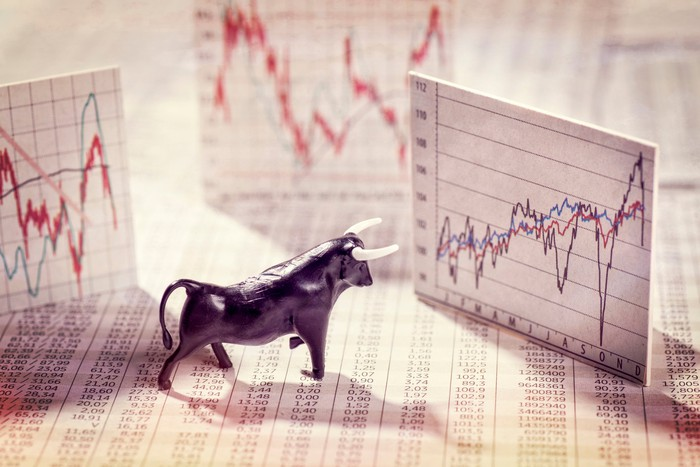 Bull figure and rising stock charts.