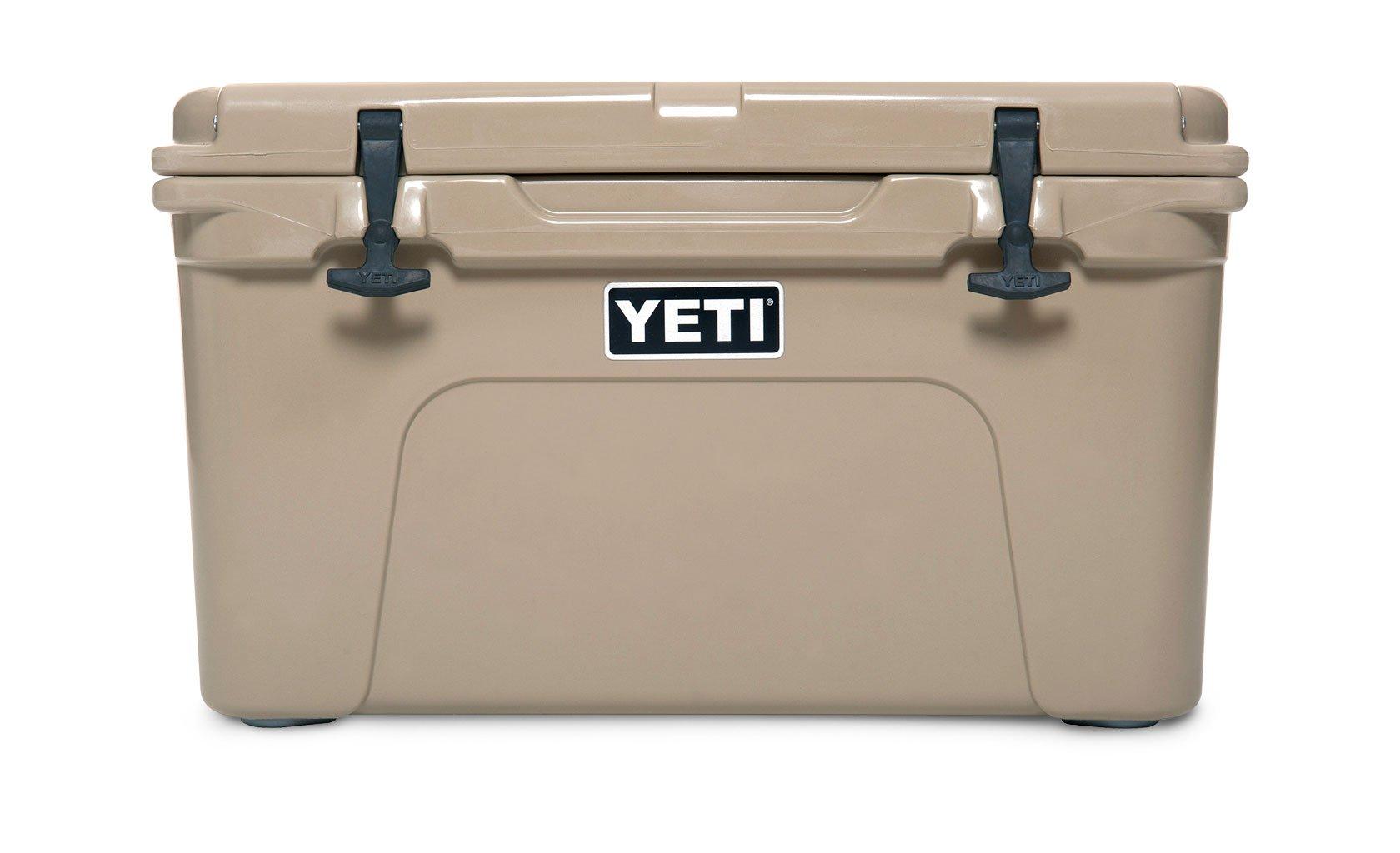 Beige ice cooler labeled Yeti.