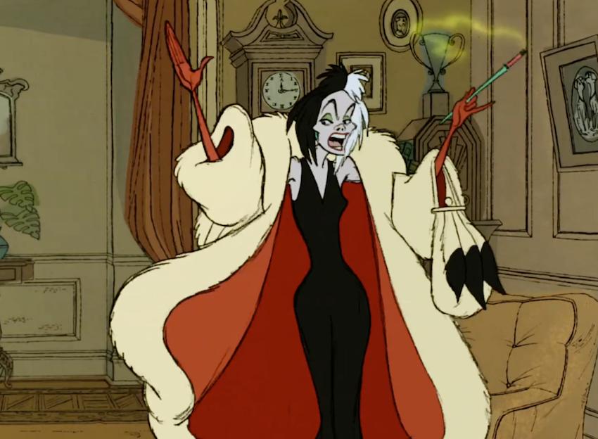 Cruella de Ville smoking in Disney's 101 Dalmatians.