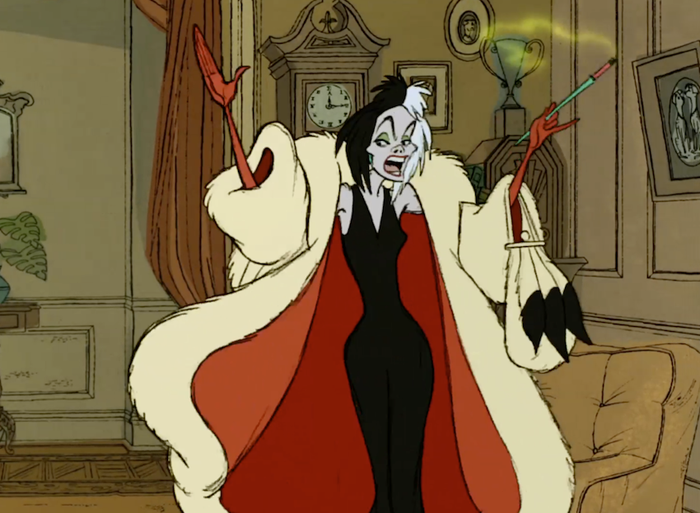 Cruella de Ville smoking in Disney's 101 Dalmatians.