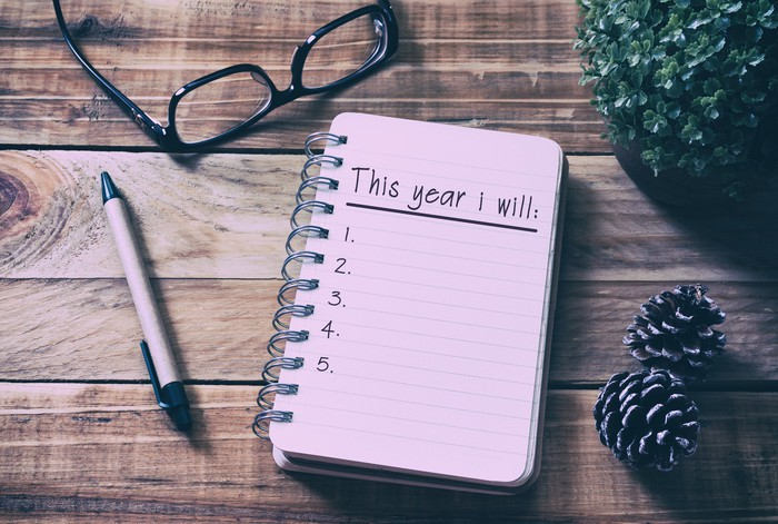 "A spiral notebook showing a page headed ""This year I will...,"" with a pen and a pair of eyeglasses"