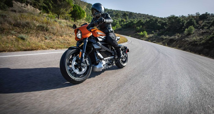 Rider on the Harley-Davidson LiveWire electric motorcycle.