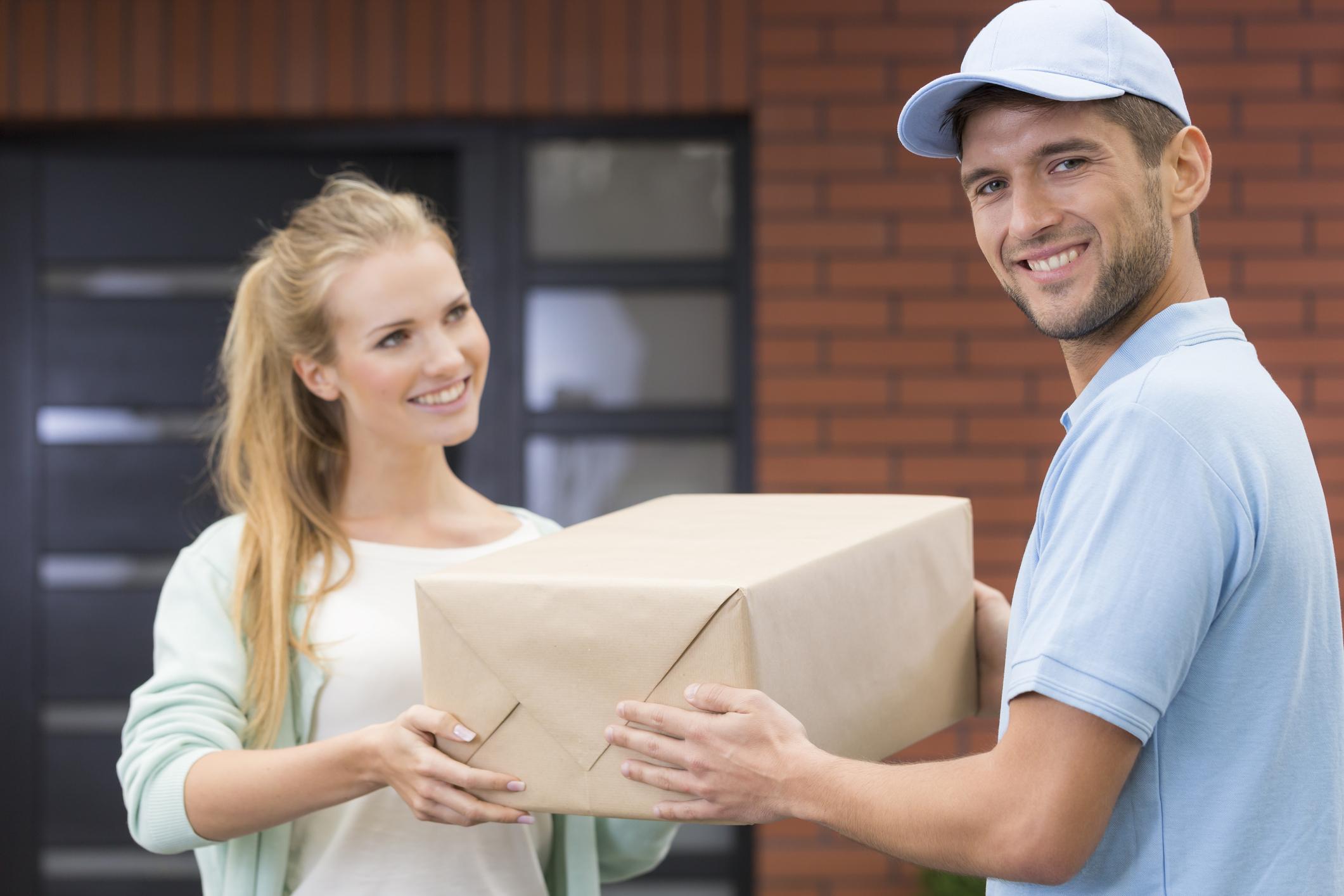 A parcel being delivered.