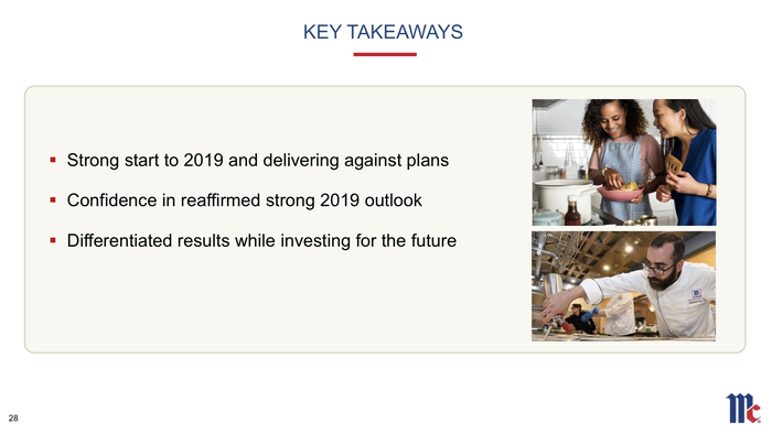 A slide summarizing McCormick's outlook for 2019