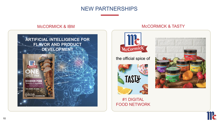 A slide showing McCormick's recent partnerships