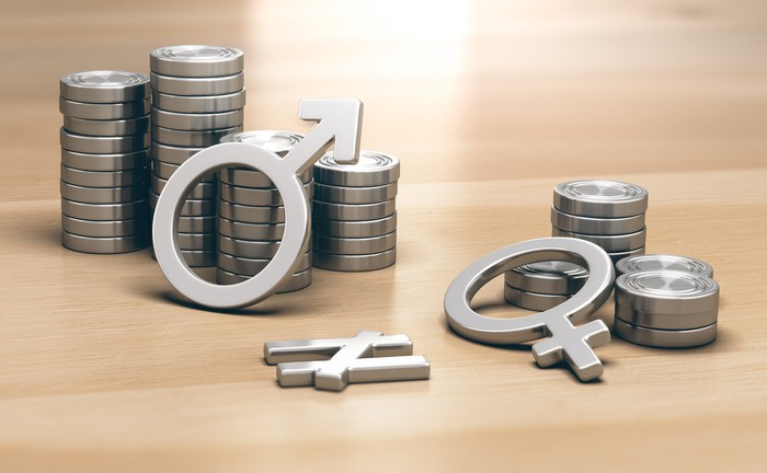 """A """"male"""" symbol leaning on a larger stack of coins and a """"female"""" symbol lying on a smaller stack, with a """"not equal"""" symbol between them."""