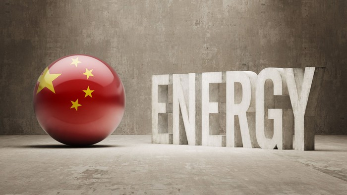 A sphere with the Chinese flag next to the word energy.
