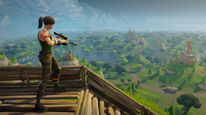 A player wielding a sniper rifle in Fornite.
