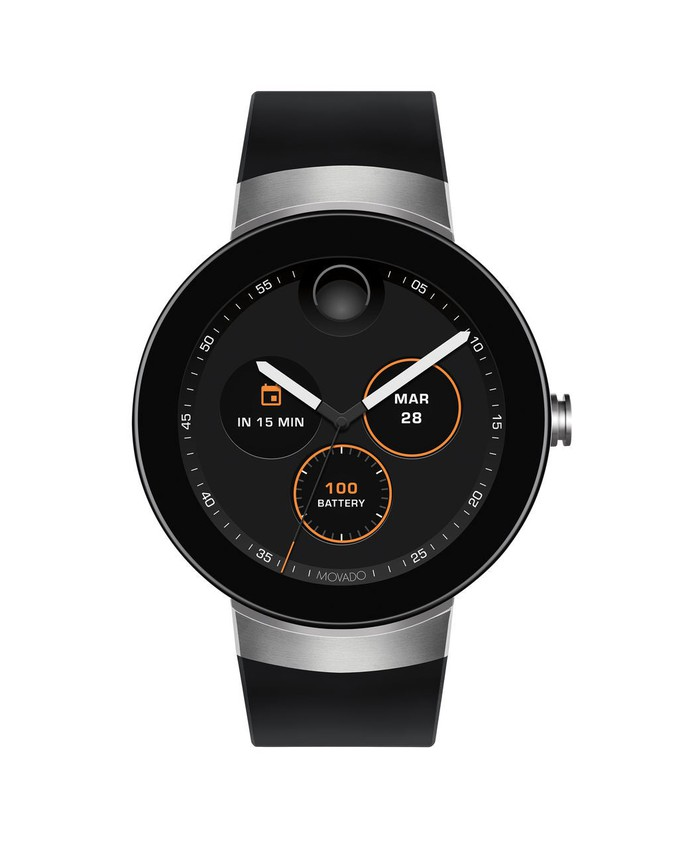A watch face made by Movado
