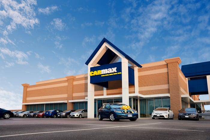 A CarMax store parking lot.