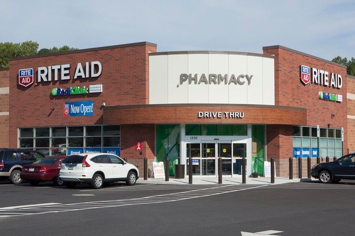 The exterior of a Rite Aid store.