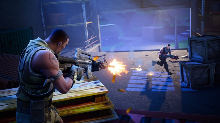 Two players shoot at each other in Epic Games' Fortnite.