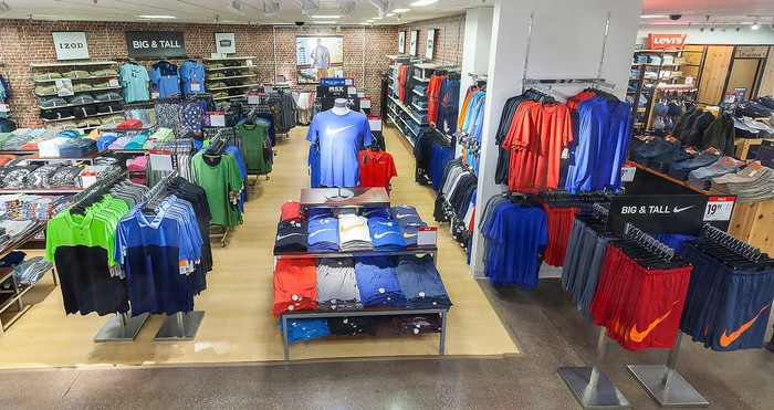 Clothing inside a J.C. Penney store.
