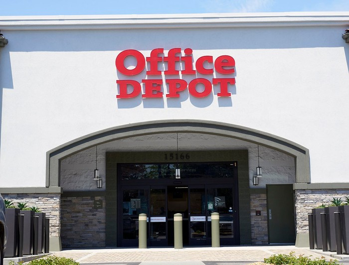 Office Depot store location with logo above doorway.