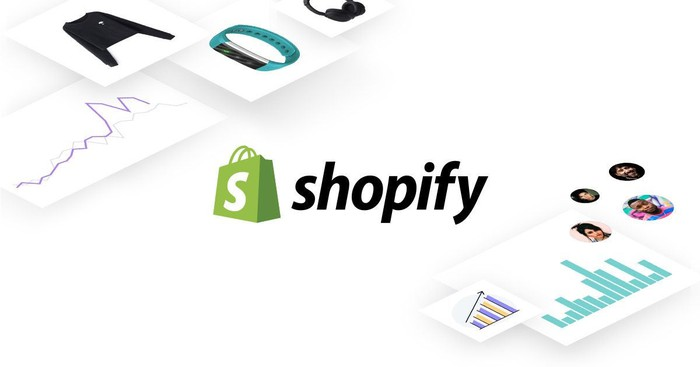 A graphic with the Shopify logo surrounded by data and ways to access the Shopify e-commerce platform