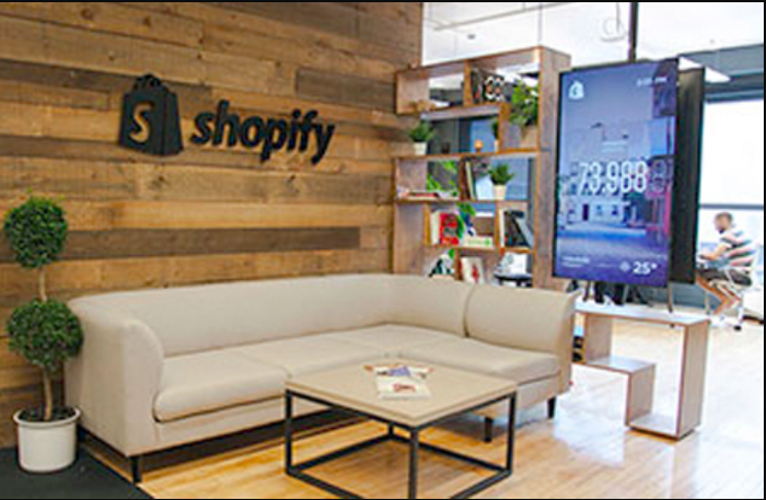 The reception area at the Shopify offices.