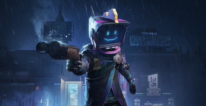 A PUBG character holding a gun in promotional artwork.