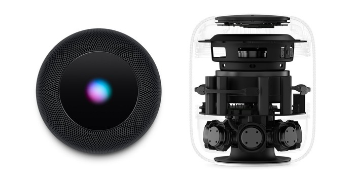 A top view and internal view of Apple's HomePod.