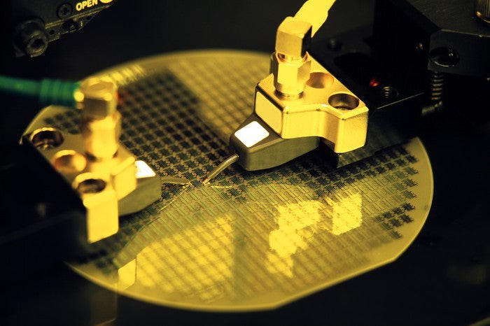 A semiconductor wafer being processed.