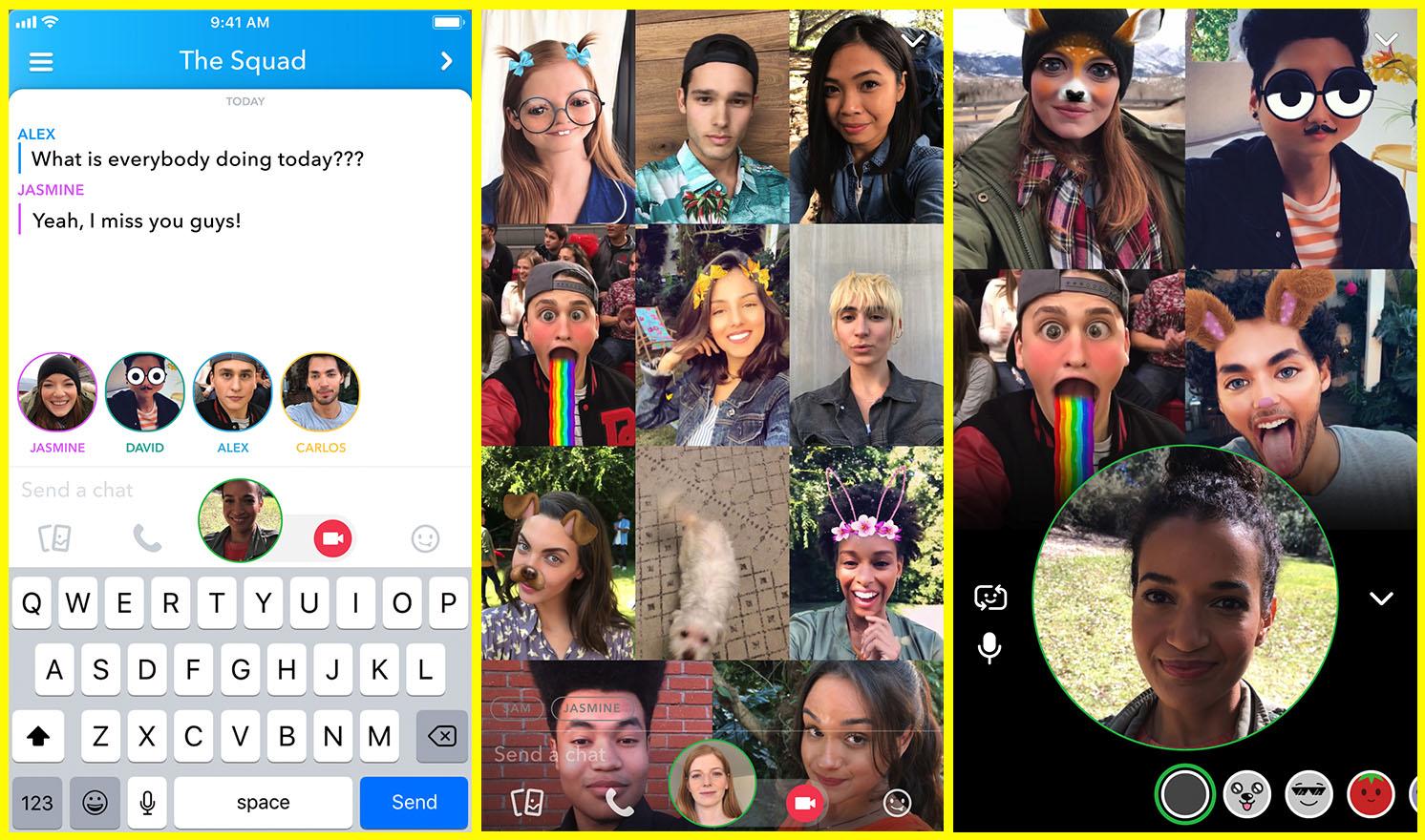Three screenshots of group calling interface in Snapchat