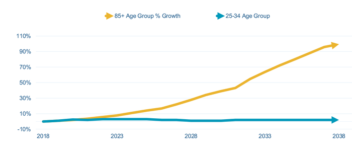 Chart of older population growth over next 20 years.