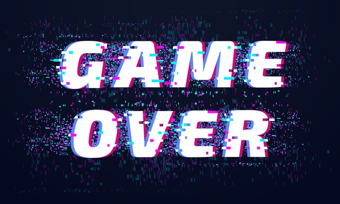 A sign that says Game Over  in white letter against a black background.