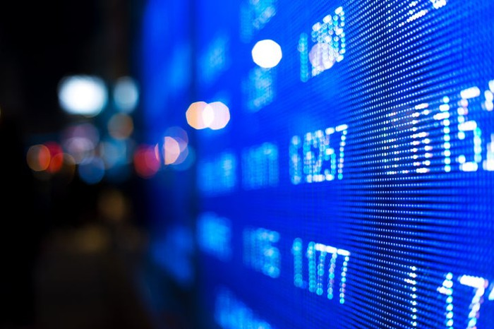Chart of stock prices on screen