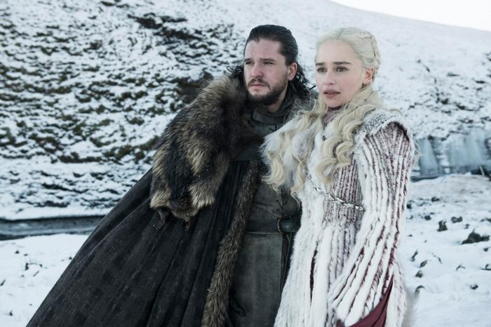 Jon Snow and Daenerys Targaryen in Game of Thrones.
