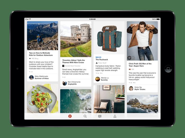 Image of Pinterest app on an iPad.