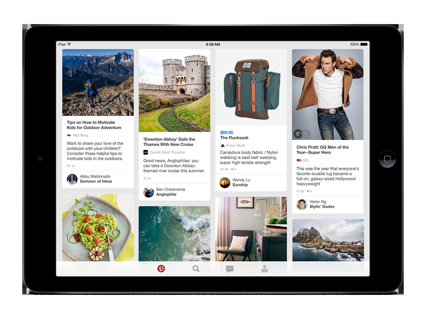 Pinterest home feed on an iPad.