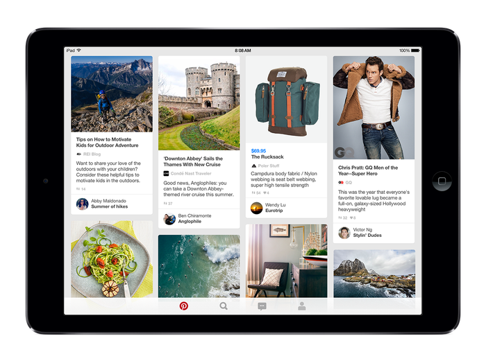 Pinterest home feed on an iPad.