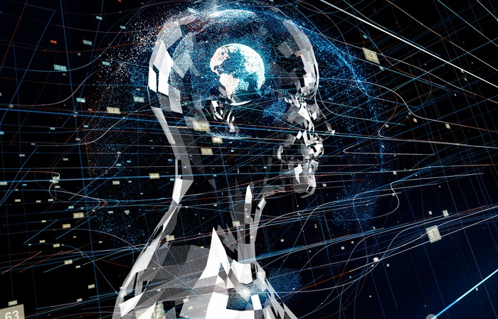 An image depicting a humanoid robot with the world as its brain.