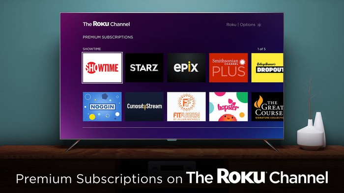 The Roku Channel showing premium subscriptions like Showtime, Starz, Epix, and others.