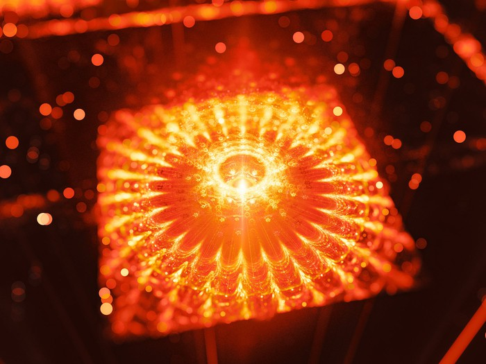 Orange microprocessor lighting up.