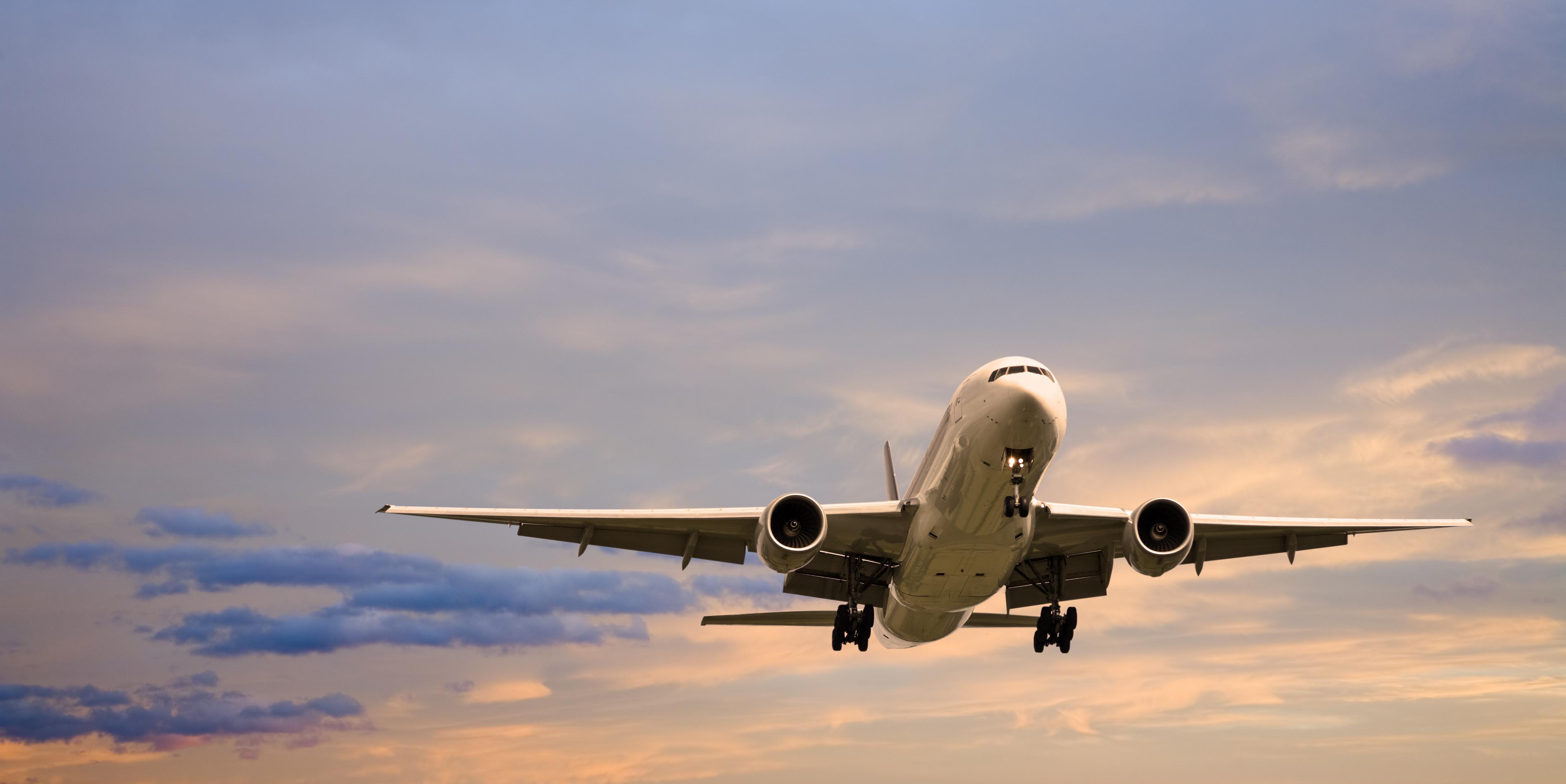 A Boeing plane in flight.