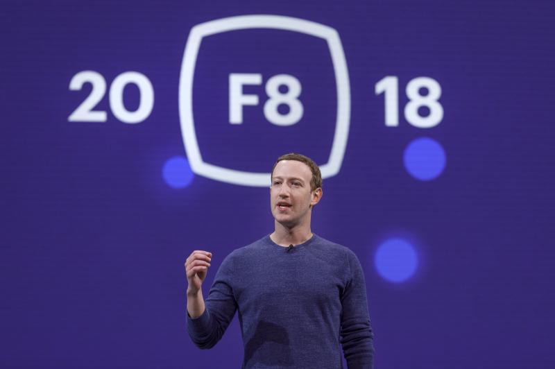 Facebook CEO Mark Zuckerberg speaking onstage at F8 2018