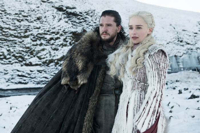 Kit Harington and Emilia Clarke in a scene from HBO's Game of Thrones.